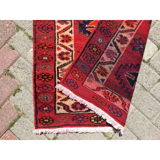 Red Vintage Hand Knotted Turkish Runner For Sale - Image 8 of 9