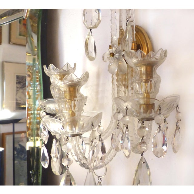 Crystal & Bronze 1940's Three Arm Wall Electrified Wall Sconces - a Pair For Sale - Image 4 of 9