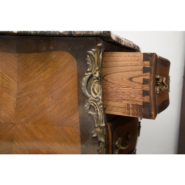 Louis XV Style Two-Drawer Commode With Varigated Marble Top For Sale In West Palm - Image 6 of 13