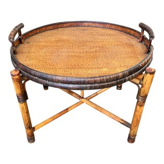 Rattan & Bamboo Round Center Table For Sale