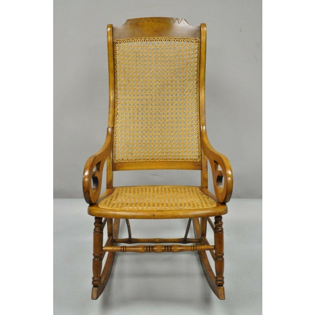 19th Century Antique Eastlake Victorian Cane & Maple Wood Primitive Rocker Rocking Chair For Sale - Image 12 of 12