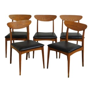 Heywood Wakefield Mid Century Danish Modern Style Set 5 Teak Dining Chairs For Sale