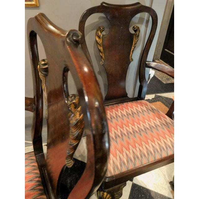 Early 19th Century George II-style Hand-Carved and Parcel-Gilt Arm Chairs, England Circa 1810-1830 - A Pair For Sale - Image 5 of 13