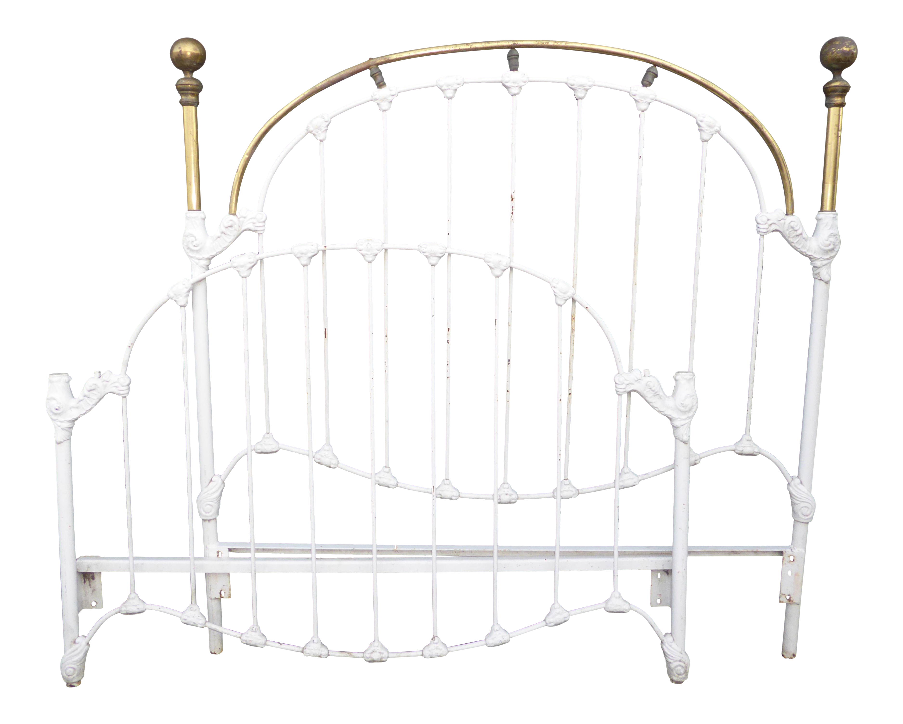 1930s Vintage French Country Shabby Chic White Cast Iron Full Bed Frame Headboard Chairish