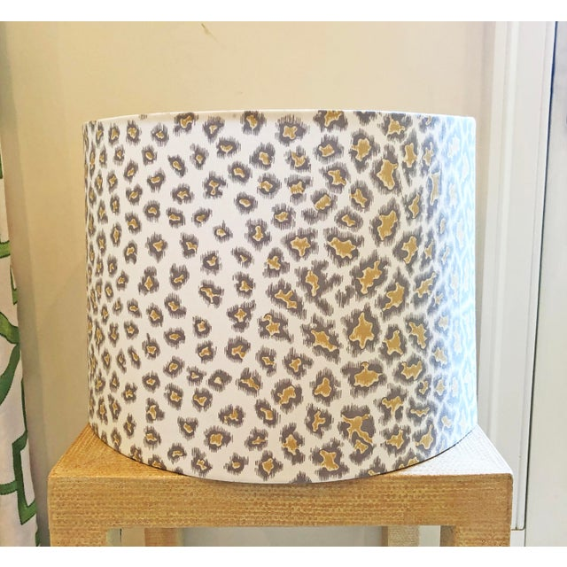 2010s Custom Drum Lamp Shade in Brunschwig & Fils English Leopard For Sale - Image 5 of 5