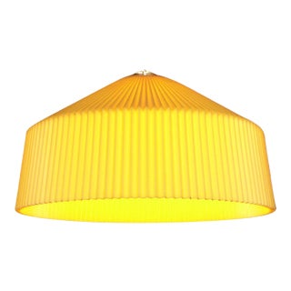 Vintage 1950's Mid-Century Modern Atomic Yellow Plastic Pleated Swag Lamp Light Fixture For Sale