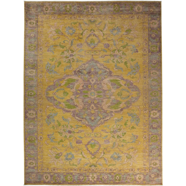 "Oushak Hand Knotted Area Rug - 10'3"" X 13'8"" For Sale"