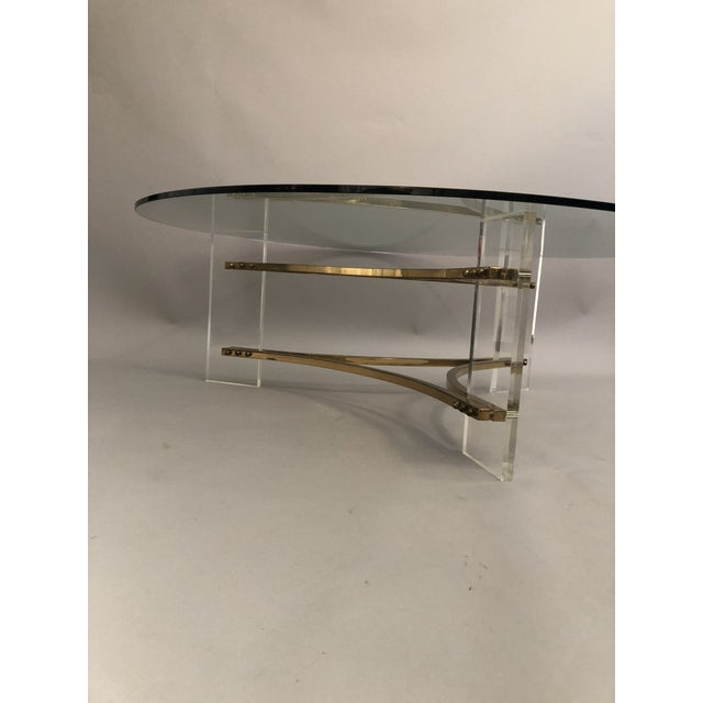 Charles Hollis Jones Brass, Glass, and Lucite Coffee Table For Sale - Image 9 of 10