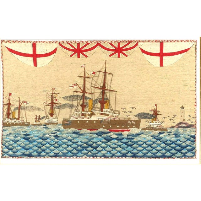 Large British Sailor's Woolwork of Fleet, Circa 1890 (Ref: NY9411-ncmr) The large sailor's woolie or woolwork depicts a...