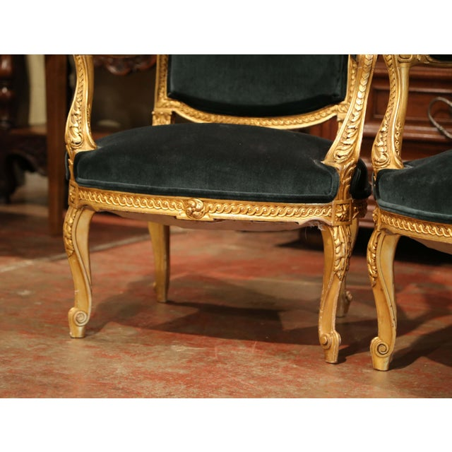 Pair of 19th Century French Louis XV Carved Giltwood Armchairs With Green Velvet For Sale - Image 10 of 11