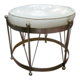 Vintage Mid Century Modern Round Ottoman For Sale
