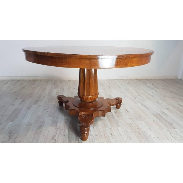 19th Century Italian Empire Walnut Carved Inlay Round Table For Sale - Image 11 of 13