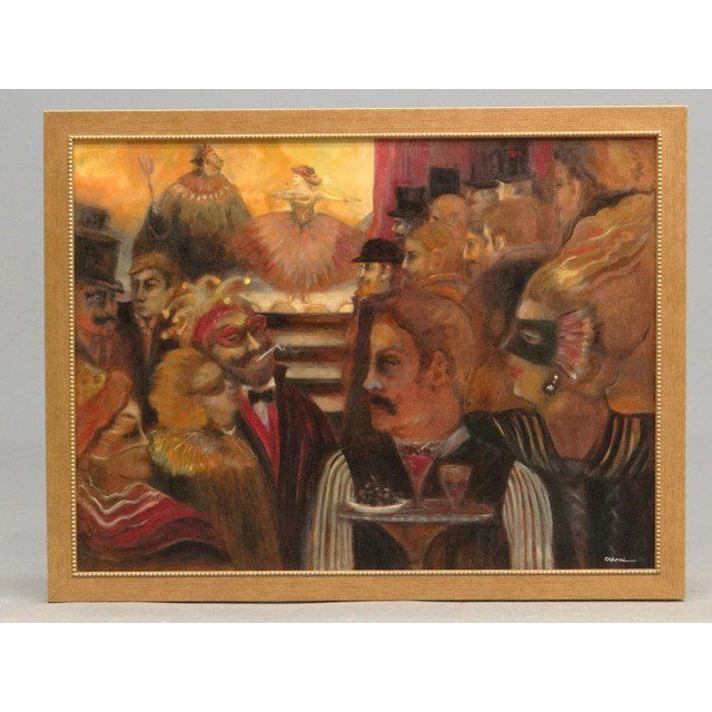 "Festive framed oil on canvas scene of costume or masquerade ball. Date and artist unknown. Signed ""Crini."""