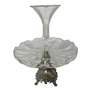 1940s Vintage Glass Tulipe Vase & Compote For Sale