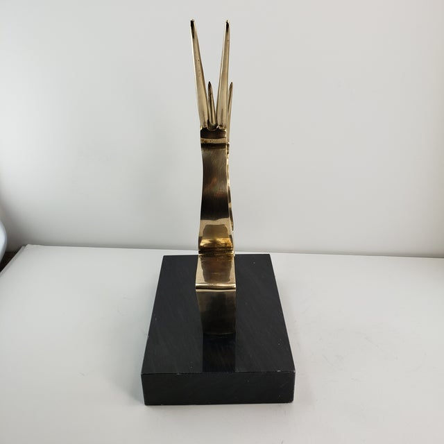 Brass Vintage Brass 2 Gazelle Sculpture Mid Century Modern Table Art For Sale - Image 8 of 12
