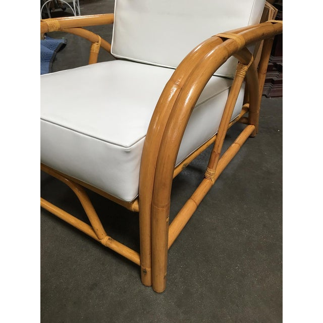 1940s Restored 1949 Rattan Reclining Lounge Chair With Arched Arms For Sale - Image 5 of 8