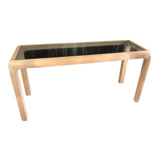 1970s Vintage Split Reed Rattan Glass Top Console Table For Sale