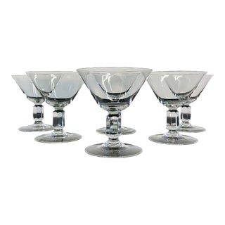 1960s Low Glass Cocktail Coupe Stems, Set of 6 For Sale