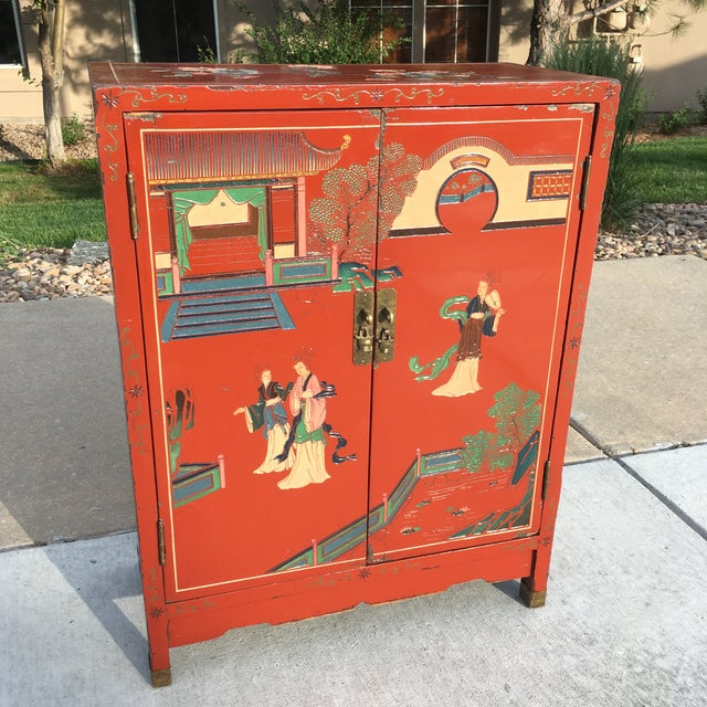 Chinese red lacquered cabinet, circa early twentieth century.