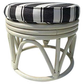 Round Rattan Ottoman and Custom Made Cushion For Sale