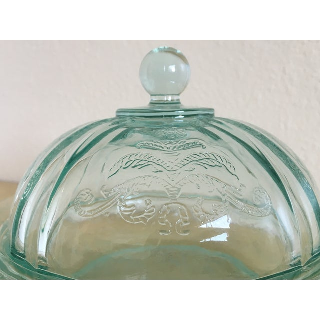 Depression Era Mint Glass Lidded Serving Dish - Image 3 of 8