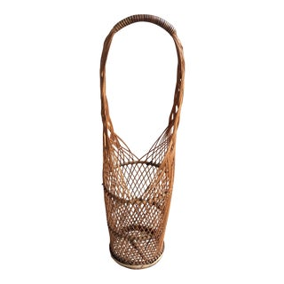 Vintage 1970s Rattan Wicker Wine Bottle Holder For Sale