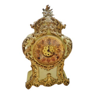 "Antique F. Kroeber Clock Co. ""Versailles"" Ornate Iron Green With Cherubs 8 Day Clock For Sale"