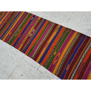 1970s Vintage Handwoven Striped Runner Rug - 2′3″ × 16′11″ Preview