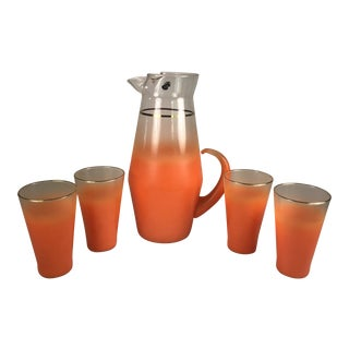 1960s Mid-Century Modern Orange Blendo Glasses and Pitcher - Set of 5 For Sale