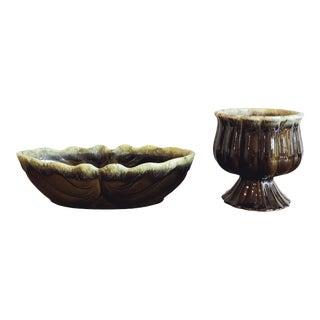 Vintage Green Ceramic Planters For Sale