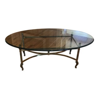 Oval Glass Cocktail Table For Sale