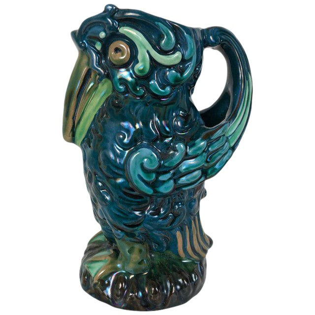 Longpark English Art Pottery Bird Pitcher For Sale