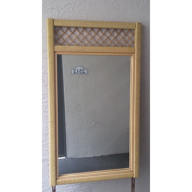 Hollywood Regency Henry Link Tall Wicker Rattan Mirror For Sale - Image 3 of 4