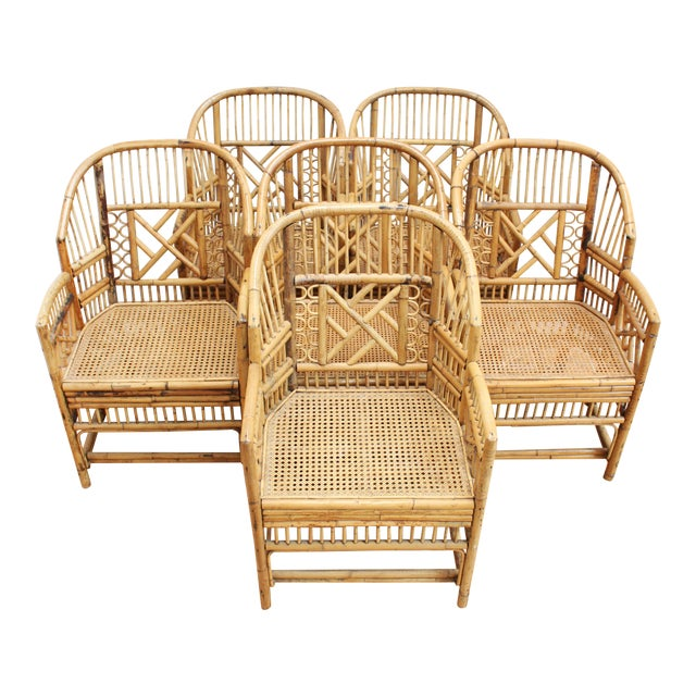 Hand Caned Brighton Pavilion Dining Chairs- Chinese Chippendale Fretwork - Set of 6 For Sale