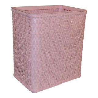 Redman Pink Wicker Wastebasket For Sale