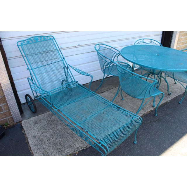 1960s Mid Century Modern Aqua Blue Wrought Iron Patio Set With Lounge on Wheels For Sale - Image 5 of 13