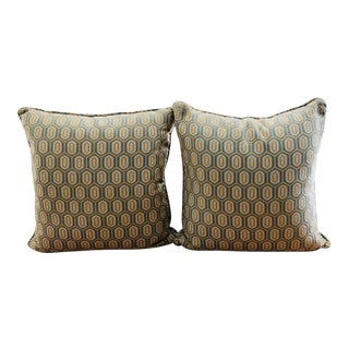 Italian Kravet Geometric Woven Decorator Quality Accent Pillows - a Pair For Sale
