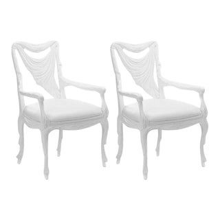 White Lacquered Chairs in the Manner of Tony Duquette - a Pair