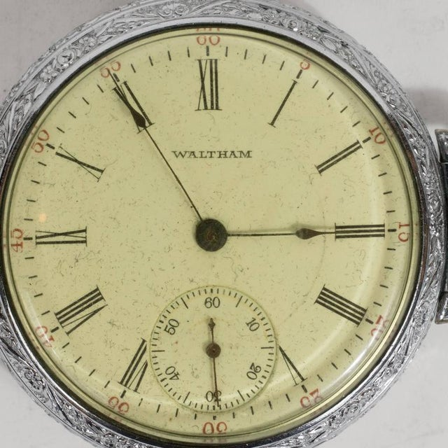 Art Deco Antique Waltham Chronometer Pocket Watch with Foliate Engravings and Brass Chain For Sale - Image 3 of 11