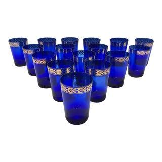 Mid-Century Cobalt & Gold Leaf Glasses - Set of 16