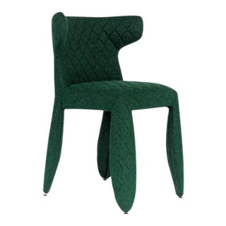 Moooi Green Heathered Wool Upholstered Dining Chair For Sale