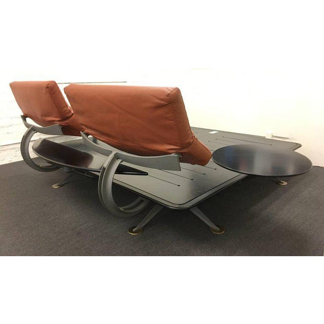 Superb Steel Leather And Brass Platform King Size Bed Frame By