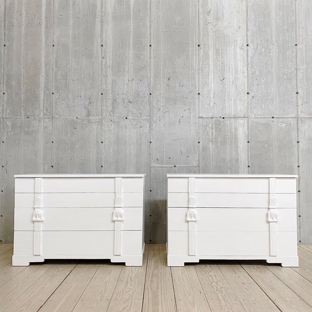 Wood Modern White Painted Chests of Drawers - a Pair For Sale - Image 7 of 7