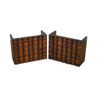 Maitland Smith Pair Carved Wood Faux Book Facades For Sale