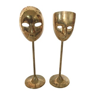 Brass Mask Figurines - Pair