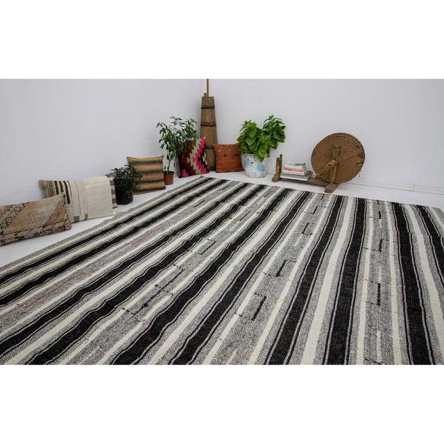 Vintage Black & Gray Striped Kilim Rug- 8′ × 10′2″ For Sale In Los Angeles - Image 6 of 7