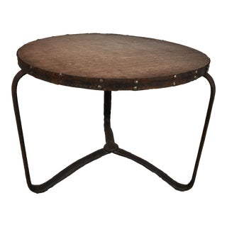 Jacques Adnet Stitched Leather Table For Sale