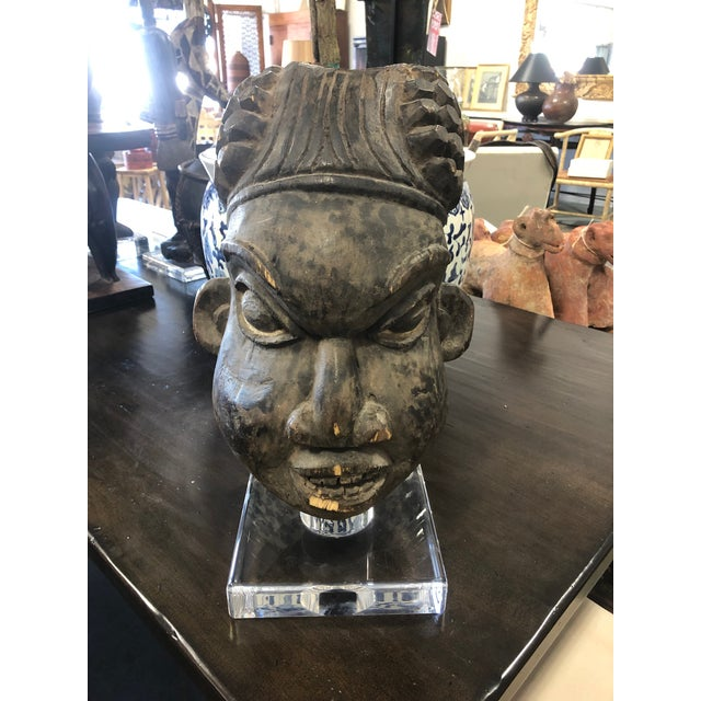 Charcoal Vintage Mid-Century Decorative Head African Sculpture For Sale - Image 8 of 8