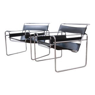 Marcel Breuer Style Black Leather and Chrome Wassily Chairs, Pair For Sale