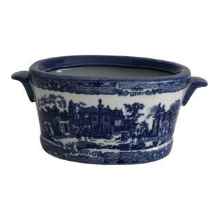 1990s Chinoiserie Royal Blue Ironstone Jardiniere For Sale